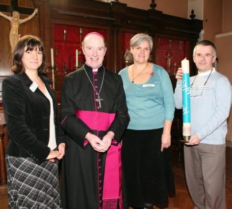 Joanna, Bishop Thomas, Denise and volunteer Mike Evans at the Livesimply service in Westminster Cathedral (2007)