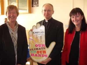 CAFOD volunteer Pauline Spratt, Fr Mark Reilly and Head of RE Miss Hynes