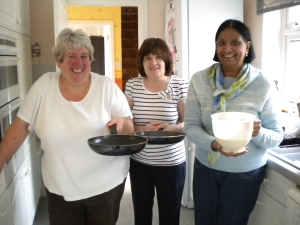 L to R Christine Traynier, (who hosted the lunch) Tricia McCaul (assistant cook) and Jean Sporle (Waitress)