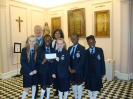 Peter with students from the Sacred Heart of Mary school