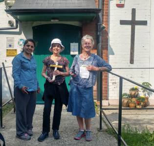 Pax Christi walkers with the Lampedusa Cross in Purfleet